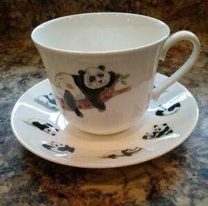 Roy Kirkham PANDA  BREAKFAST CUP SAUCER ,fine bone china,  bin 1036