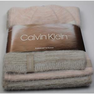 Calvin Klein 2 Piece Light Pink Fuzzy Beanie Hat & Loop Scarf Set NWT Msrp $78