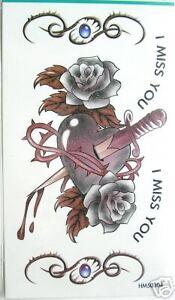 King Horse Rose Heart Knife Glitter Temporary Tattoos #HM50304