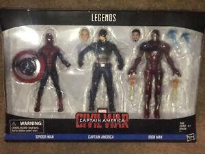Marvel Legends Captain America Civil War BATTLE DAMAGED 3-pk Iron Man Spider-Man