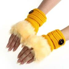 Women Winter Warm luxury Wool Faux Rabbit Fur Wrist Fingerless Gloves Mittens