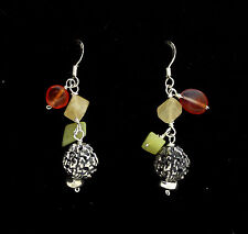 END OF LINE - STERLING SILVER DROP EARRING, BIG SILVER BEAD AND COLOURFUL AGATES