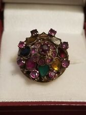 ANTIQUE 19TH CENTURY 14KT GOLD SIAM RUBIES WITH OTHER GEMS HAREM DOME RING 6.5 g