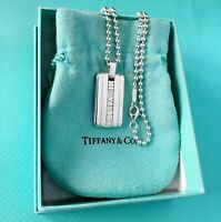 Tiffany & Co Sterling Silver Mens Atlas Tag Bead Chain Necklace