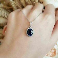 2.50Ct Oval Cut Blue Sapphire & Diamond Pendant 14K White Gold Finish Free Chain