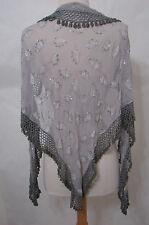 """VINTAGE Silver Leaf Print Silk Shawl Scarf Gray Bead Trim 75"""""""