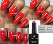 BLUESKY GEL POLISH KISS ME RED  BRIGHT NAIL LED UV SOAK OFF, ANY 2 = FILE +WIPES