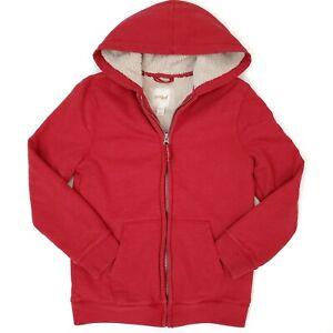 Cat & Jack Boys Sherpa Lined Zip Hooded Hoodie Sweatshirt Red Unisex Kids M 8-10