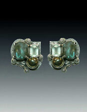 Jade Pyrite S/S Clip/Post Earrings Sale Nwt Amy Kahn Russell Labradorite