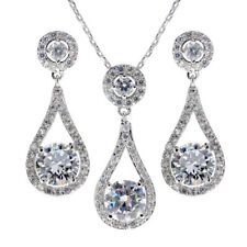 Elixir of Life Necklace and Earrings set Bridal CZ Cubic Zirconia - CRYSTALA