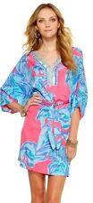 NWT $238 Lilly Pulitzer Wilda Caftan Chic Pink Sway Beaded Neckline Dress SMALL
