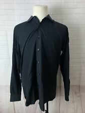 Saks Fifth Avenue Men's Black Solid Cotton Dress Shirt 17 34/35 $125