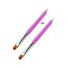 2x Nail Art Acrylic UV Gel Design Tips Painting 2 Ways Dotting Brush Pen
