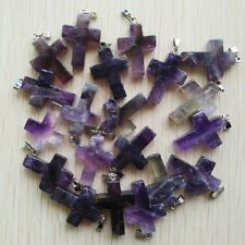 Fashion amethyst druzy stone Cross Silver P Beads Pendants 20pcs/lot  Wholesale