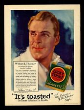 TENNIS CHAMPION BILL TILDEN SMOKES LUCKY STRIKE CIGARETTES TO PROTECT HIS THROAT