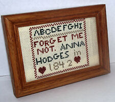 Sampler Cross Stitch 1842 ABC Forget Me Not Anna Hodges Wood Frame Reproduction