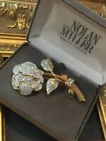NOLAN MILLER LARGE ROSE PIN BROOCH PAVE CRYSTALS GLAMOUR COUTURE GOLDTONE NEW