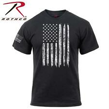 Patriotic Athletic Fit Distressed USA US Flag Mens T-shirt Black Rothco  2901 M