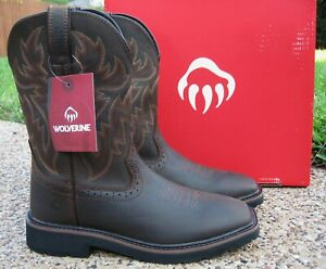 NEW Mens Wolverine Rancher Brown Leather Square Toe Wellington Work Boots W10704