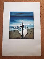 Otto Eglau (1917 Berlin - 1988 Kampen) Buhne am Meer Farbradierung 1972