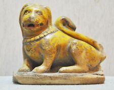 Original Old Antique Hand Carved Painted White Marble Lion Figurine