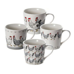 Chicken Mugs Cups Set 4 Coffee Tea Porcelain China Hens Animal Lovers Gifts