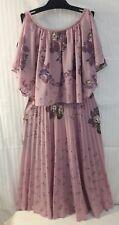 VINTAGE 1970's Lavender Purple SHEER Flutter Sleeve DISCO Scarf Pleated DRESS