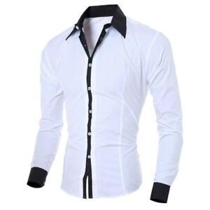 Camisas De Color Liso Con Bolsillo Para Hombre, Camisa Ajustada De Manga Larga