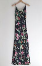 Beautiful SUE WONG Nocturne Silk Satin Floral Beaded Bias Maxi Dress Size 10