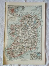 "c1900 - IRELAND MAP with Dublin City Insert (German Printed) - 9½"" x 6½"""