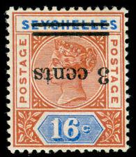 MOMEN: SEYCHELLES SG #38a 1901 INVERTED SURCHARGE MINT OG H