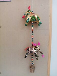 Indian Hanging Elephant Fabric Home Decoration Boho String Handmade with Bell