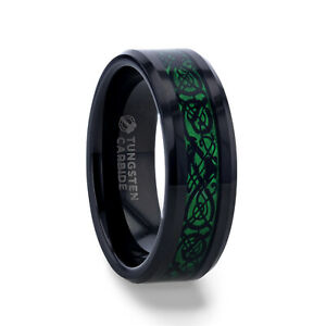ALLURE Black Dragon Design with Green Background Black Tungsten Men's Ring - 8mm