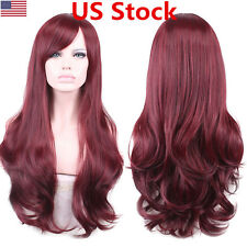 US New Beauty Women Red Wine Long Curly Wavy Lace Front Wig Cosplay Hair Wigs