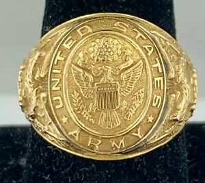 Vintage Solid 10Kt Yellow Gold US ARMY Men's Military Ring