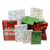 24-Pack Christmas Gift Box for Gifts with Lids for Presents, 3 Sizes, 4 Designs