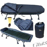 Delta Fishing Spar Set 8 Bein Aluminium Karpfen Liege /& Fleece Schlafsack Sha
