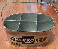 Chevrolet Sales and Service METAL Bucket w/ handle & dividers Garage Chevy