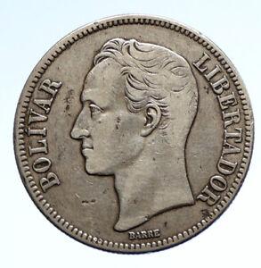 1936 Freemason President Simon Bolivar VENEZUELA Founder Silver 5 B Coin i95691