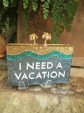 "KATE SPADE NEW YORK ''I NEED A VACATION PALM TREE"" BOX CLUTCH BAG, BNWT"