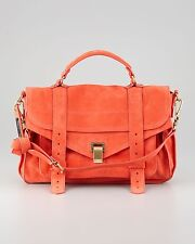 PROENZA SCHOULER Orange Ps1 Medium Suede Satchel Bag Shoulder Purse Handbag