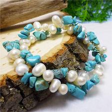 Genuine Pearl & Turquoise Stone Twisted Bracelet