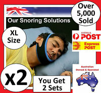 EXTRA LARGE - 2x Anti Snore AntiSnore Device Jaw Strap Stop Snoring Chin Support