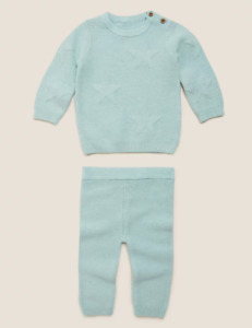 M&S Marks Spencer Baby Boys 2 Piece Organic Cotton Knitted Star Outfit BNWT