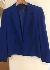 LIZ CLAIBORNE  Collection 100% Wool Solid Blue Lined Jacket  Size 6