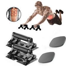 3 in 1 Push Up Stands Chest Bars AB Roller Gym Trainer Fitness with Knee Pads