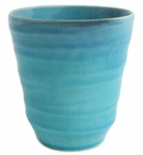Mino ware Japanese Free Tea Cup BLUE RIVERS Large Turquoise Blue Crackled