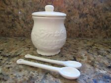Cream Ceramic Preserve Pot with lid & two Spoons