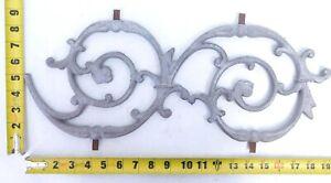 "Vintage Ornate Cast Aluminum Scroll Curve Spiral Wall Decor Art Panel 19""x 7"" SI"