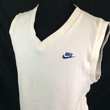 Vintage Nike Vest XL White Blue Logo Swoosh 80s Made In USA Cotton